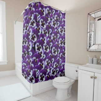 Pansy_Purple_White_Flower,_Shower_Curtain Shower Curtain