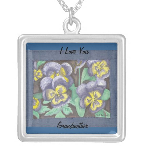 Pansy Quilt Grandmother Necklace