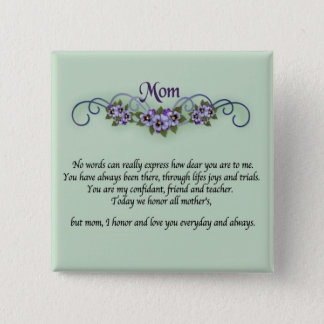 Pansy Scrolls Mother's Day 15 Cm Square Badge