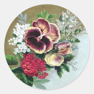 Pansy Tussie-Mussie Round Sticker