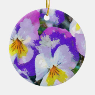 Pansy violet and yellow ceramic ornament