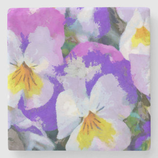 Pansy violet and yellow stone coaster