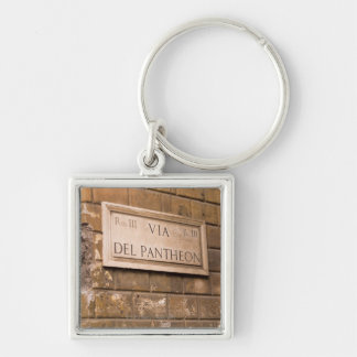 Pantheon sign, Rome, Italy 2 Silver-Colored Square Key Ring