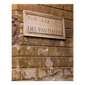 Pantheon sign, Rome, Italy 2 Poster
