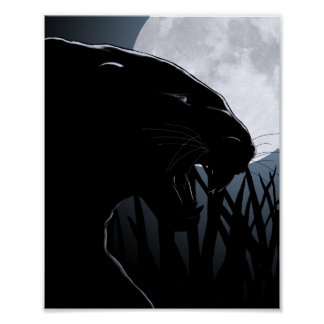 panther and moon poster