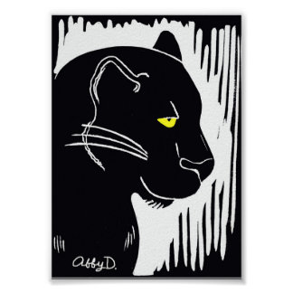 Panther Art Black and White Poster, 5 x 7 Inches Poster