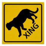 Panther Crossing Highway Sign Poster