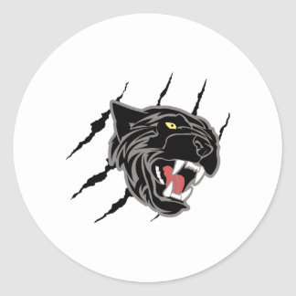 Panther Head Claw Marks Classic Round Sticker