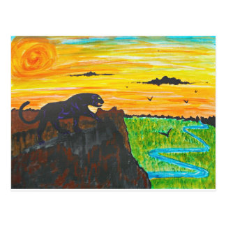 Panther on the prowl postcard