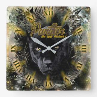 """Panther on the Prowl"" Square Wall Clock"