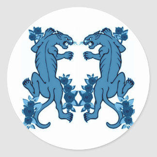 PANTHER PAIR TATTOO ART PRINT IN BLUE CLASSIC ROUND STICKER
