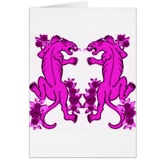 PANTHER PAIR TATTOO ART PRINT IN PINK GREETING CARD