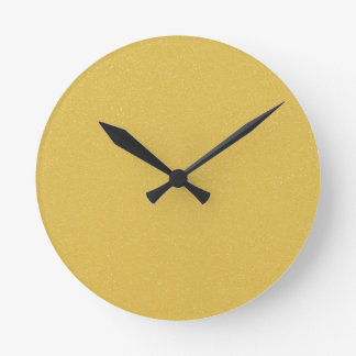 PANTONE Custard YELLOW with fine faux Glitter Round Clock