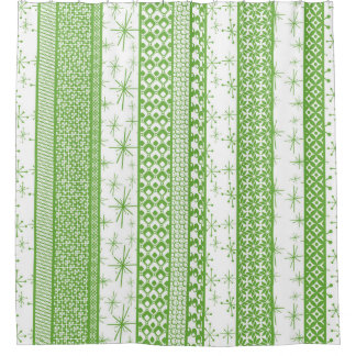 """Pantone """"Greenery"""" with Retro Pattern Stripes Shower Curtain"""