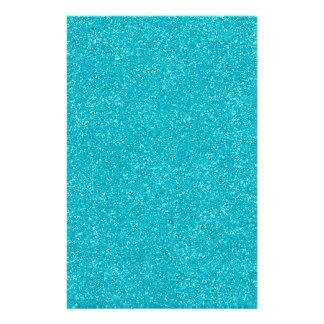 PANTONE Scuba Blue with fine Glitter Personalized Stationery