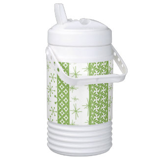 """Pantone's """"Greenery"""" with Retro Pattern Stripes Drinks Cooler"""