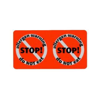 Pantry Labels - Allergen Warning Do NOT eat