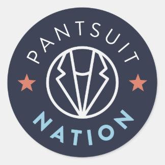Pantsuit Nation Round Sticker, Navy Classic Round Sticker