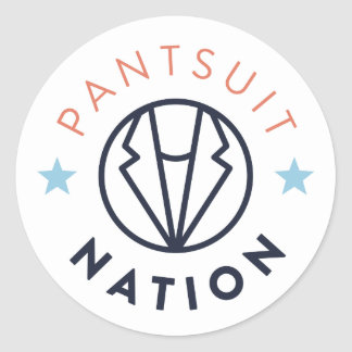 Pantsuit Nation Round Sticker, White Round Sticker