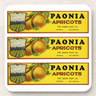 Paonia Apricots Label Art Coaster