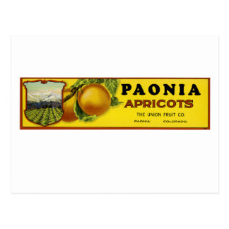 Paonia Apricots Label Art Postcard