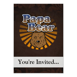 Papa Bear, Cool Fathers Day Vintage Look 13 Cm X 18 Cm Invitation Card