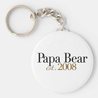Papa Bear Est 2008 Basic Round Button Key Ring