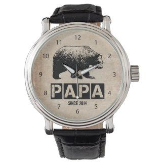 Papa Bear for Dad 2014, Grunge Black Wristwatches