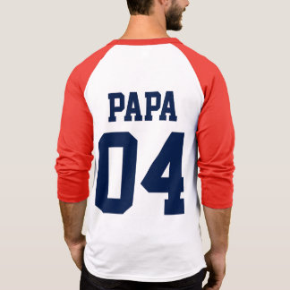 Papa Custom Number Father's Day Sports Jersey Tees