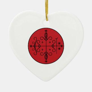 Papa Legba Veve Ceramic Heart Ornament