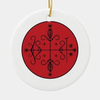Papa Legba Veve Round Ceramic Ornament