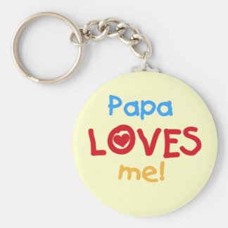 Papa Loves Me T-shirts and Gifts Basic Round Button Key Ring