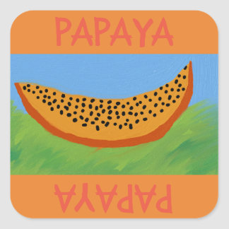 papaya cartoon draw square sticker