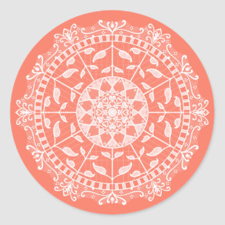 Papaya Mandala Classic Round Sticker