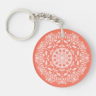 Papaya Mandala Key Ring