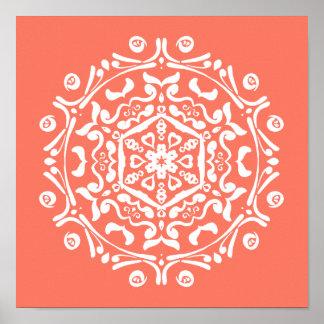 Papaya Mandala Poster