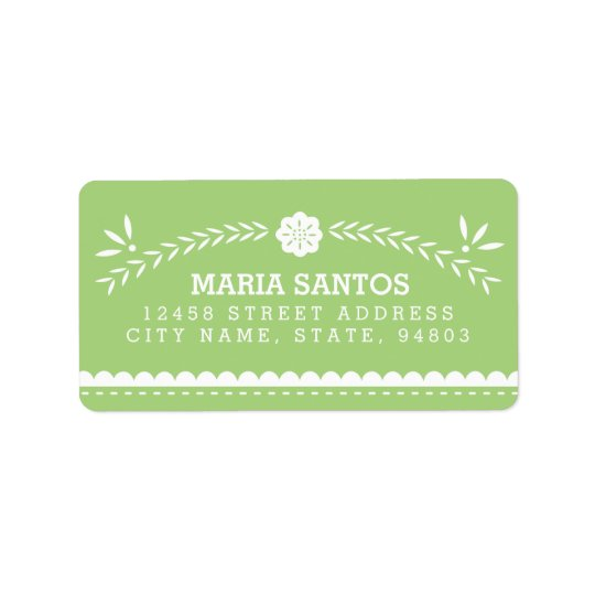 Papel Picado Address Labels - Green