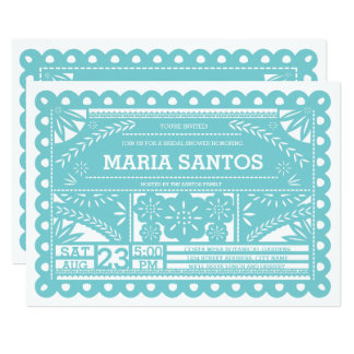 Papel Picado Bridal Shower Invite - Blue