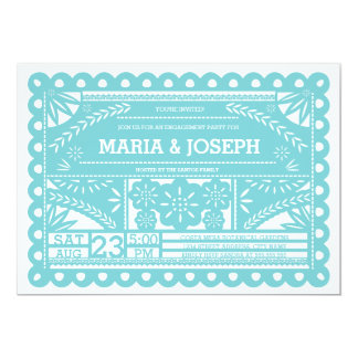 "Papel Picado Engagement Party Invite - Blue 5"" X 7"" Invitation Card"
