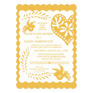 Papel Picado Gold Orange Fiesta Wedding Banner 13 Cm X 18 Cm Invitation Card