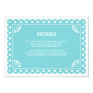 Papel Picado Insert Card - Blue 11 Cm X 16 Cm Invitation Card