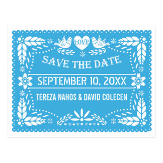 Papel picado love birds blue wedding Save the Date Postcard