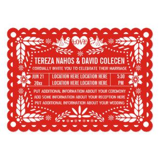 Papel picado love birds red Mexican fiesta wedding 13 Cm X 18 Cm Invitation Card