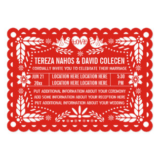 Papel picado love birds red Mexican fiesta wedding Card