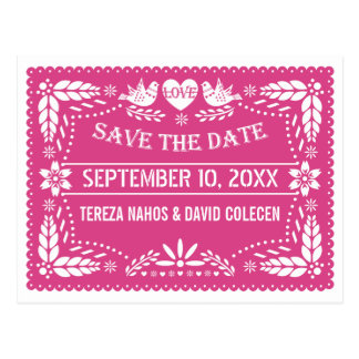 Papel picado lovebirds pink wedding Save the Date Postcard