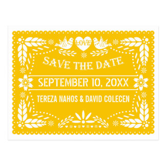 Papel picado modern yellow wedding Save the Date Postcard