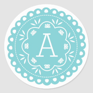 Papel Picado Monogram Stickers - Blue