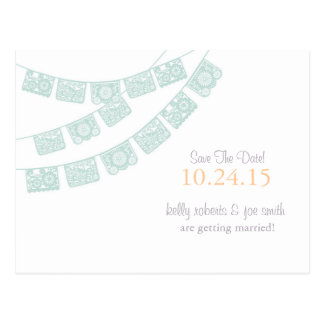 Papel Picado Save the Date Mint green Postcard
