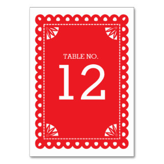 Papel Picado Table Number - Red