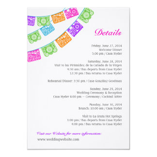 Papel Picado Wedding Details Enclosure Multicolor Card